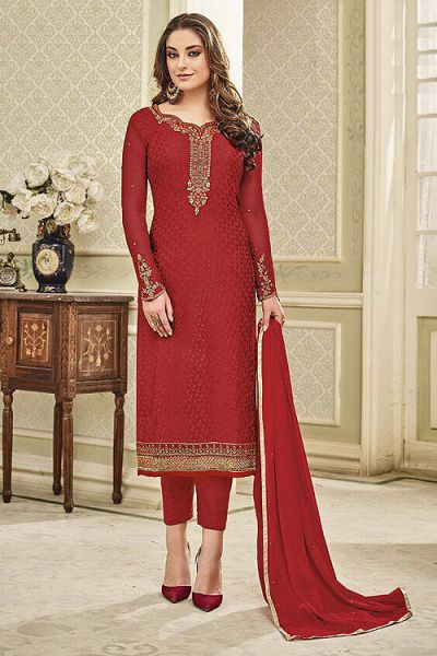 Designer Pant Style Salwar Kameez In Red Brasso Floral Embroidered