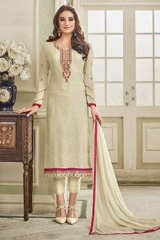 Designer Pant Style Salwar Kameez In Beige Brasso Floral Embroidered