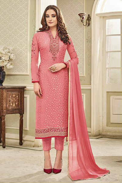 Designer Pant Style Salwar Kameez In Peach Pink Brasso Floral Embroidered