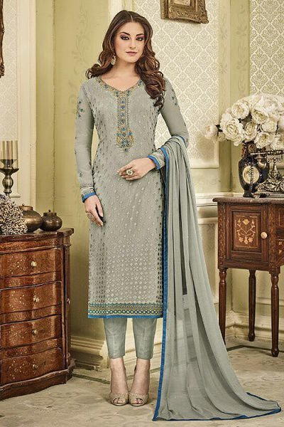 Designer Pant Style Salwar Kameez In Grey Brasso Embroidered