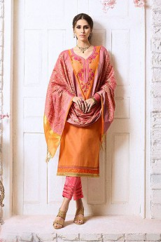Orange & Pink Chanderi Pant Style Salwar Kameez Floral Embroidered With Banaras Silk Dupatta