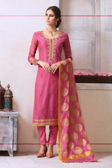 Pink Pant Style Salwar Kameez In Chanderi With Banaras Silk Dupatta