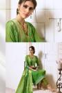 Green Chanderi Designer Pant  Style Salwar Kameez With Banaras Silk Dupatta
