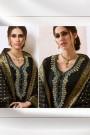 Black Chanderi Pant Style Salwar Kameez With Bead Work Embroidery Banaras Silk Dupatta