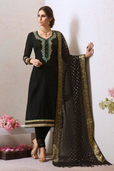 Black Chanderi Pant Style Salwar Kameez With Bead Work Embroidery Banaras Silk Dupatta