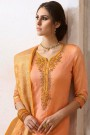 Peach & Mustard Chanderi Floral Embroidered Pant Style Salwar Kameez With Banaras Silk Dupatta
