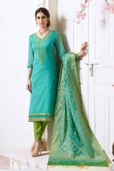 Turquoise & Green Chanderi Pant Style Salwar Kameez Embroidered With Banaras Silk Dupatta