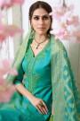 Turquoise & Green Chanderi Pant Style Salwar Kameez Embroidered With Banaras Silk Dupatta