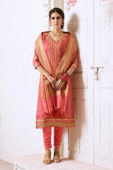 Carrot Pink Chanderi Pant Style Salwar Kameez With Bead Work Embroidery Banaras Silk Dupatta