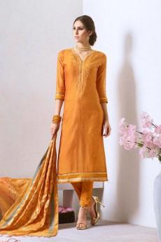 Chanderi Pant Style Salwar Kameez With Bead Work Embroidery Banaras Silk Dupatta
