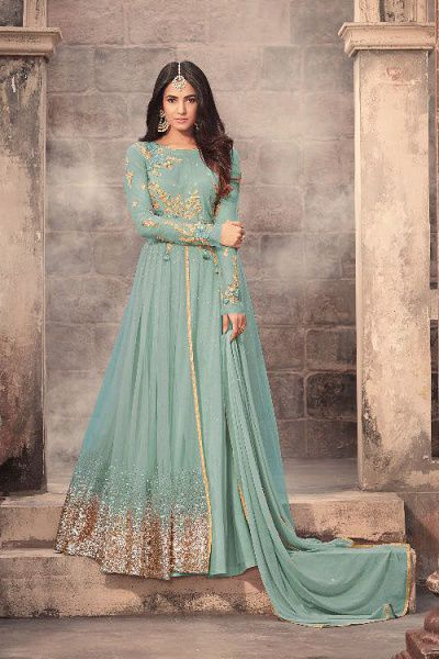 Light Blue/Cyan Glitter Anarkali Suit Georgette Zari Embroidered