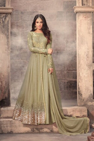 Murky Green Sequins Work Anarkali Suit In Georgette/Net Zari Embroidery