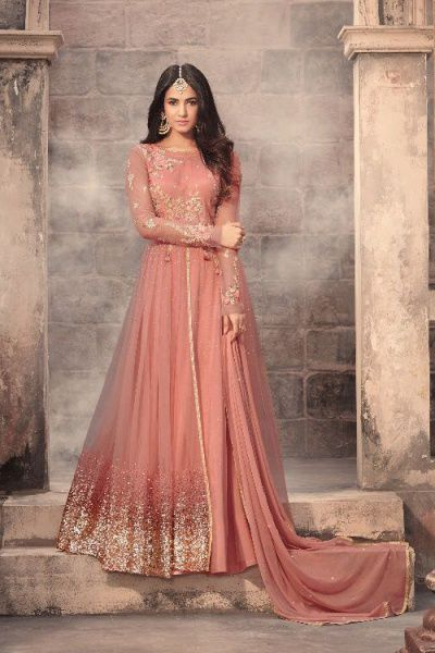 Dusky Peach Sequins work Anarkali Suit Georgette Zari Embroidered