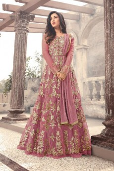 Designer Long Anarkali Suit In Net Mauve Floral Embroidery