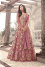 Designer Long Anarkali Suit In Net Mauve Floral Embroidery