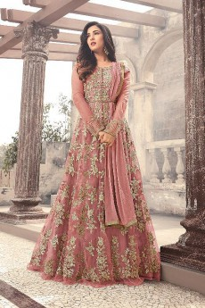 Designer Long Anarkali Suit In Net Dusky Mauve Floral Embroidery