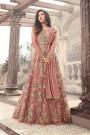 Designer Long Anarkali Suit In Net Dusky Mauve Floral Embroidery