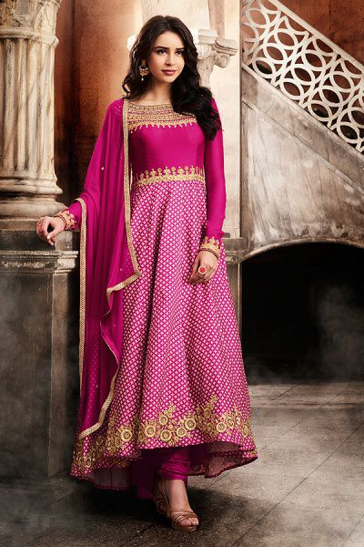 Like A Diva Pink High Low Zari Embroidery Designer Anarkali Suit