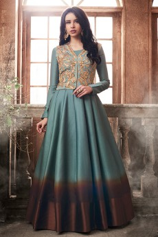 Like A Diva Designer Anarkali Suit With Sequins Embroidery Jacket