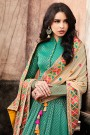 Emerald Green Jacquard Floor Length Collared Anarkali Dress With Multi Colour Embroidered Beige Dupatta