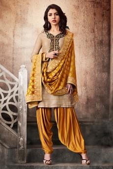 Beige Mustard Khadi Silk/Jacquard Semi Patiala Salwar Suit