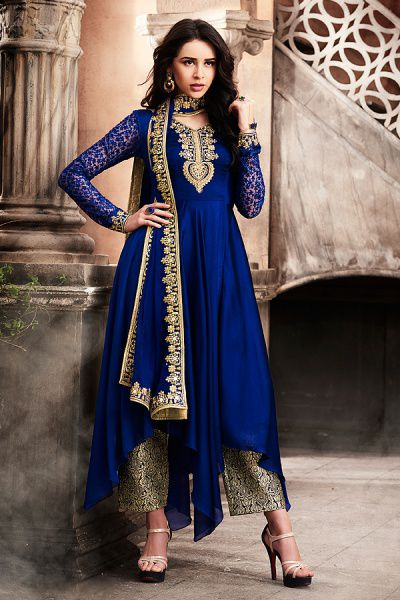 Like A Diva Navy Blue Zari Embroidery Asymmetric Designer Anarkali Style Suit