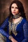 Like A Diva Navy Blue Zari Embroidery Asymmetric Designer Suit