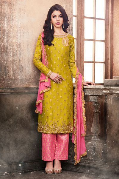 Olive Green Rusty Pink Zari Embroidered Silk Kurti With Jacquard Pants/Ghaghara