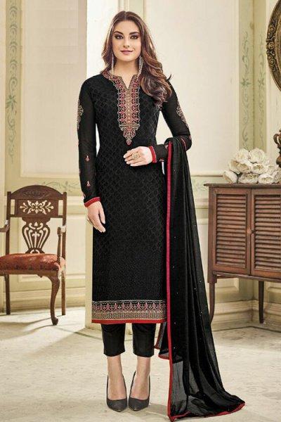 Designer Pant Style Salwar Kameez In Black Brasso Floral Embroidered