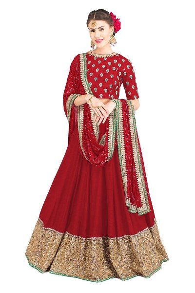 Art Silk Lehenga With Zari & Sequin Work in Red