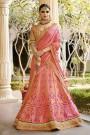 Jacquard Lehenga With Embroidery, Zari & Stone Work In Pastel Pink