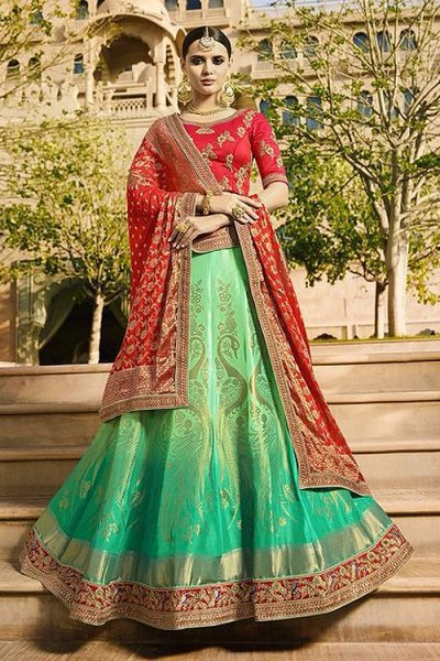 Ombre Green & Red Jacquard Designer Lehenga With Zari Embroidery