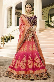 Jacquard Lehenga With Embroidery, Zari & Stone Work In Ombre Pink