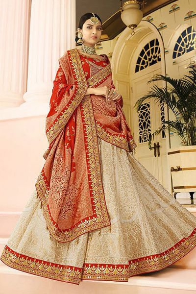 Beige & Red Jacquard Designer Lehenga With Gota Patti Work
