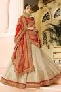 Beige & Red Jacquard Designer Lehenga Choli With Gota Patti Work