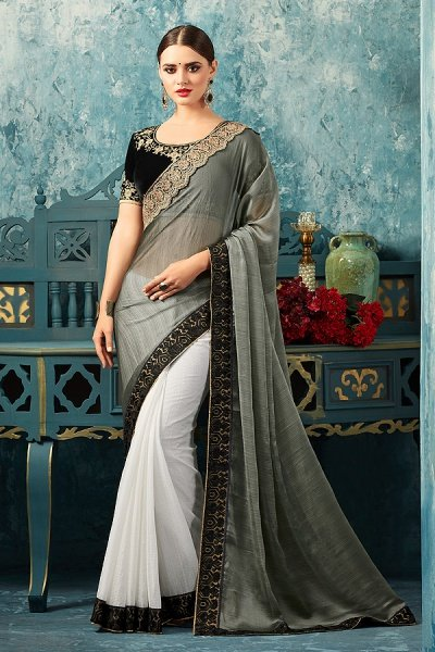 Grey White Half & Half Saree With Black Velvet Embroidered Blouse