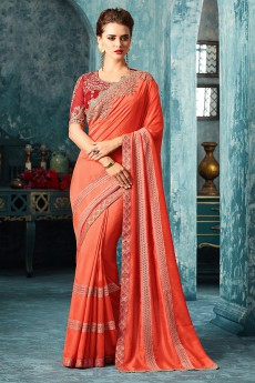 Orange Designer Saree With Red Zari Embroidered Blouse