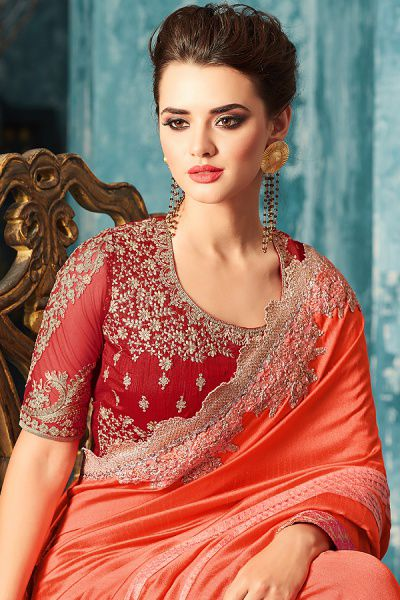 Orange Designer Saree With Red Zari Embroidered Blouse