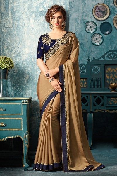 Brown Designer Saree With Navy Blue Floral Embroidered Blouse