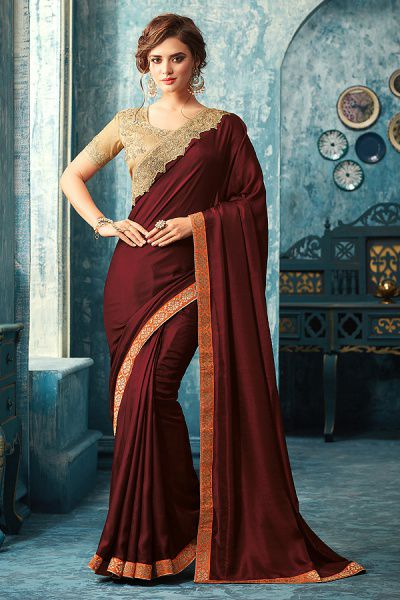 Wine Red Designer Saree With Beige Embroidered Blouse