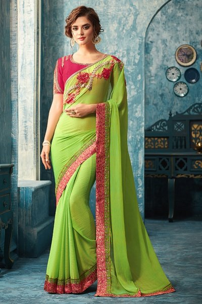 Green Designer Saree With Pink Embroidered Blouse