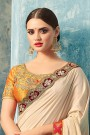 Elegant Beige Saree With Yellow Embroidered Blouse