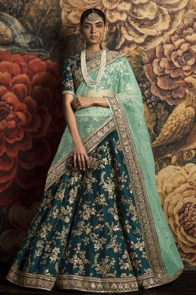 Banglori Silk Lehenga Choli With Dori & Sequins Work In Dark Blue-Green