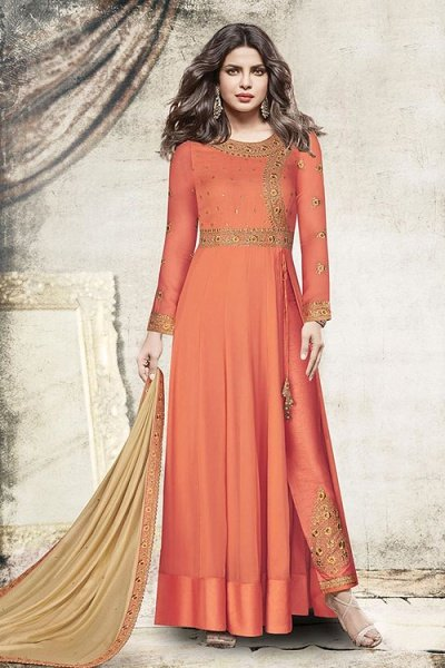 Peach Georgette Side Slit Anarkali Suit With Zari Embroidery