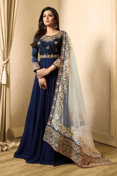 Zari Embroidered Anarkali Suit In Navy Blue Georgette