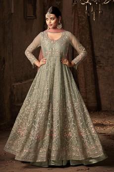 Floral Embroidered Net Anarkali Suit In Light Olive Green