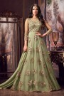 Designer Net Anarkali Suit With Floral Embroidery In Nile Green
