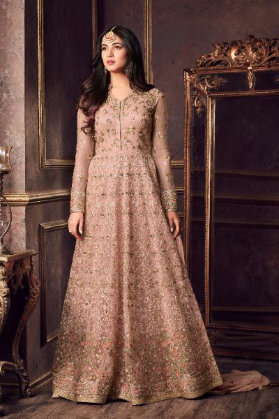 Designer Net Anarkali Suit With Zari Embroidery In Peach