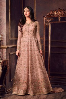 Designer Net Anarkali Suit With Zari Embroidery In Dusky Peach