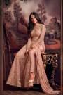 Designer Net Anarkali Suit With Zari Embroidery In Dusky Peach